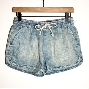 NWOT Aerie Cotton Mid Rise Light Wash Shorts